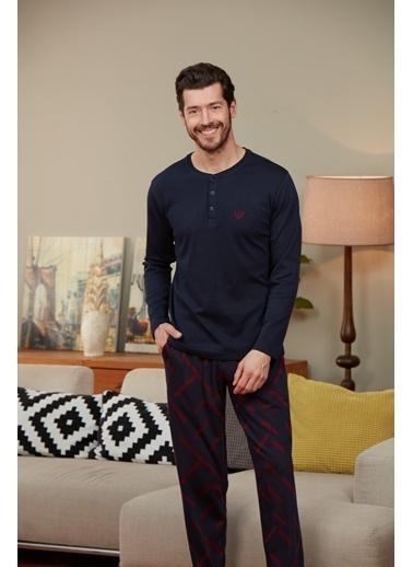 Dagi O Patlı Uzun Kollu Pijama Takımı Lacivert
